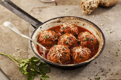 Meatballs in pan Stock Photos