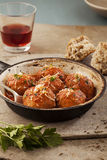 Meatballs in pan Stock Images