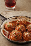 Meatballs in pan Royalty Free Stock Photography