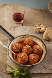Meatballs in pan Stock Photography