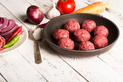 Meatballs on the pan Royalty Free Stock Photo