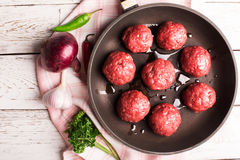 Meatballs on the pan Royalty Free Stock Images