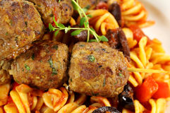 Meatballs On Pasta Royalty Free Stock Images
