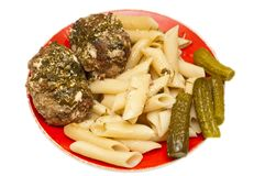 Meatballs with pasta Royalty Free Stock Image