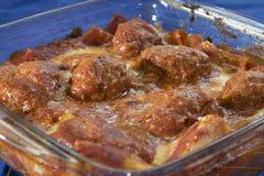 Meatballs pasta bake Stock Photos