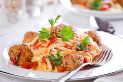 Meatballs Pasta Stock Photo
