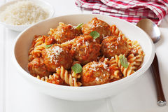 Meatballs and Pasta. Meatballs with marinara, fusili pasta and parmesan cheese. Meatballs made from turkey mince Stock Photo