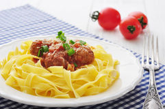 Meatballs with pasta Stock Images