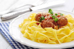 Meatballs with pasta Royalty Free Stock Images
