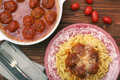 Meatballs with pasta on the plate Royalty Free Stock Images