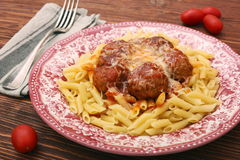 Meatballs with pasta on the plate Stock Image