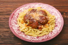Meatballs with pasta on the plate Royalty Free Stock Photo