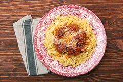 Meatballs with pasta on the plate Stock Photography