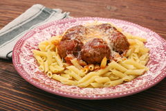 Meatballs with pasta on the plate Royalty Free Stock Photography