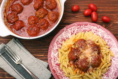 Meatballs with pasta on the plate Stock Photo