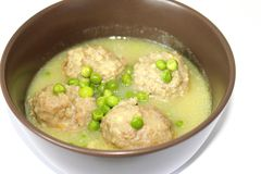 Meatballs with peas Royalty Free Stock Images