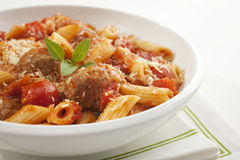 Meatballs with Penne Pasta Stock Image