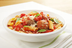Meatballs and Penne Pasta Stock Photography