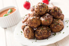 Meatballs in plate Royalty Free Stock Image