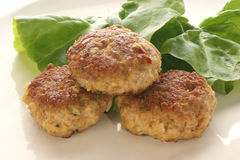 Meatballs on a plate with salad. Meatballs on a plate with fresh green salad Stock Photo