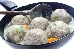 Meatballs of pork and rice with dill sauce Stock Photography