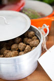 Meatballs in pot Royalty Free Stock Photos