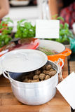 Meatballs in pot Royalty Free Stock Image