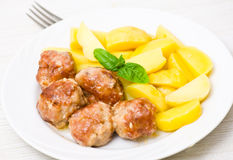 Meatballs with potato Royalty Free Stock Image