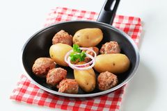 Meatballs and potatoes Stock Photos