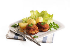 Meatballs with potatoes Stock Images