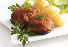 Meatballs with potatoes Stock Photos