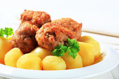 Meatballs with potatoes Royalty Free Stock Photography