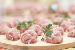 Meatballs preparation Stock Photography