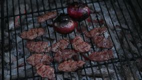 Meatballs and red onions grilling on barbecue. Meatballs and red onions grilling stock video
