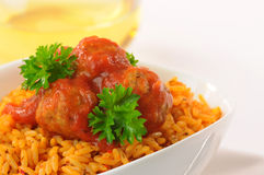 Meatballs and Rice Stock Photos