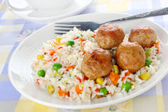 Meatballs with rice Royalty Free Stock Images
