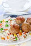 Meatballs with rice Royalty Free Stock Image