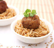 Meatballs with rice Stock Images