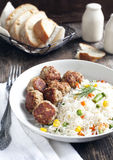 Meatballs and rice with  mixed vegetables Stock Image