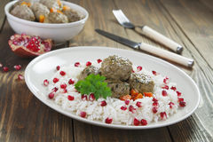 Meatballs with rice in oriental Royalty Free Stock Images