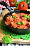 Meatballs with rice in a pan. Royalty Free Stock Photography