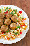 Meatballs with rice Stock Photography