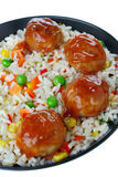 Meatballs with rice and vegetables Stock Photography