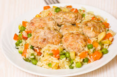 Meatballs with rice and vegetables Royalty Free Stock Photo