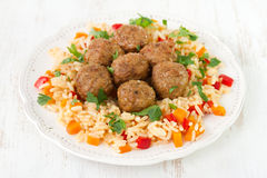 Meatballs with rice Royalty Free Stock Photography