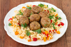 Meatballs with rice with vegetables Royalty Free Stock Photography