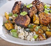 Meatballs With Rice And Zucchini. Close up stock photos