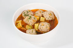 Meatballs with roast potatoes and vegetables. Stock Photography