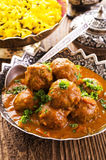 Meatballs with Saffron Rice Royalty Free Stock Photography
