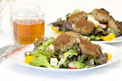 Meatballs with salad Royalty Free Stock Photography